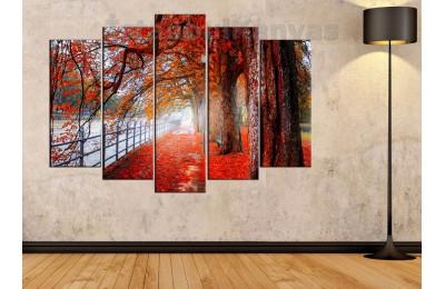 srks6 - Sonbahar, Yaprak Döken Ağaçlar ve Kırmızı Yapraklar Kanvas Tablo