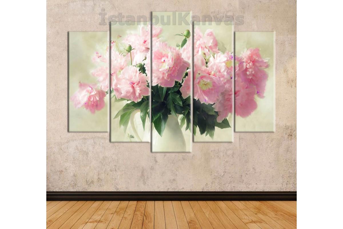 srna3 - Pembe Çiçekler ve Vazo Natürmort Kanvas Duvar Tablosu