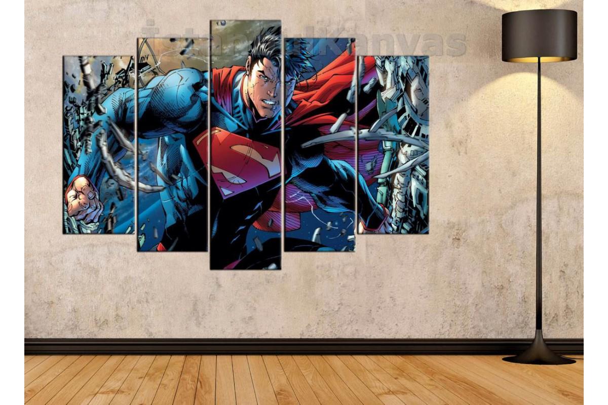 srsh21b - Superman, Süpermen, Süper kahraman, Çizgi roman görünümlü kanvas tablo