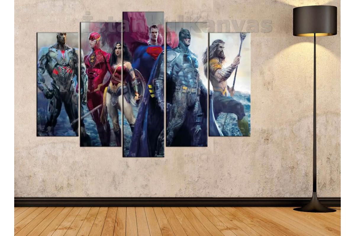 srsh24b - Justice League, Superman, Batman, Wonder Woman, Aquaman, Flash, Cyborg kanvas tablo