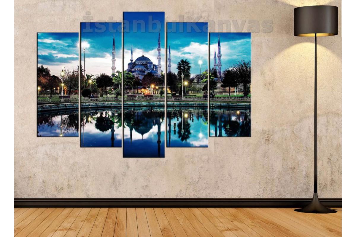 srst01 - Sultanahmet Camii ve Havuz Manzaralı Kanvas Tablo