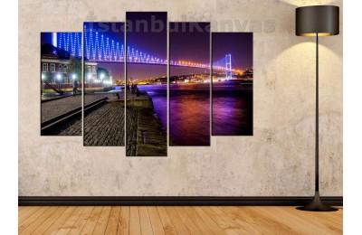 srts06 - Boğaz Köprüsü, 15 Temmuz Şehitler Köprüsü Gece Manzarası Kanvas Tablo