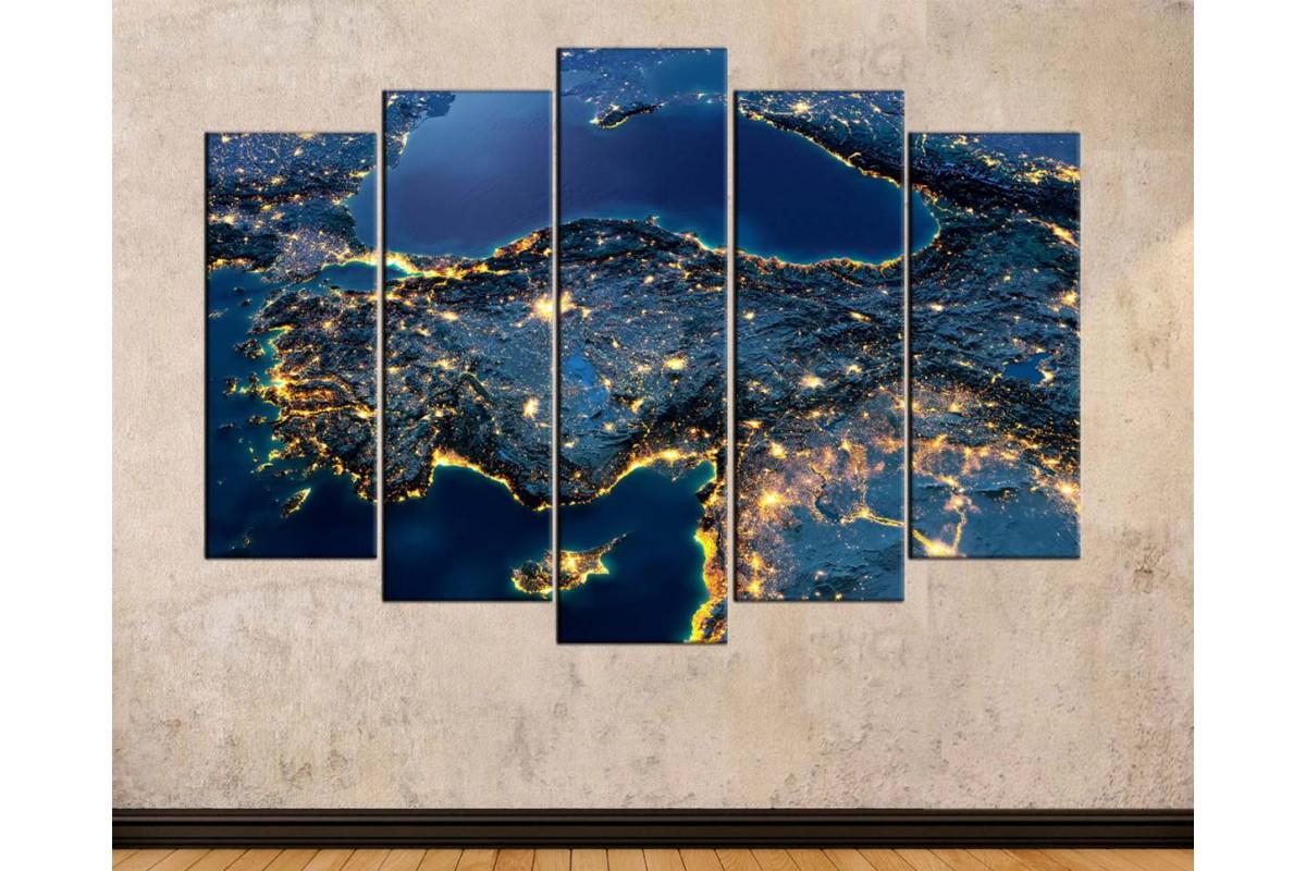 srth13 - Uzaydan Gece Görünüm, Uydu Türkiye Haritası Kanvas Tablo