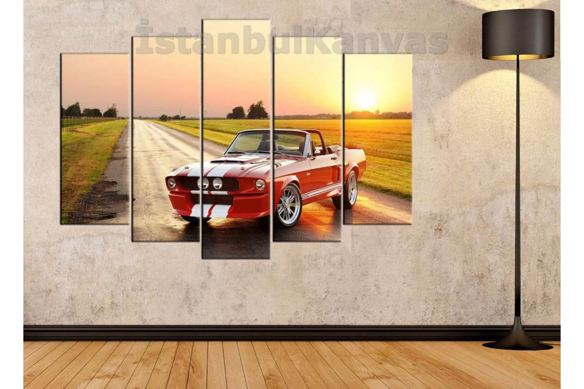 srvc14 - Mustang Klasik Araba - Vintage Otomobil Kanvas Tablo