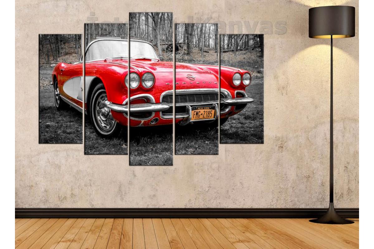 srvc32 - Corvette Klasik Araba - Vintage Otomobil Kanvas Tablo