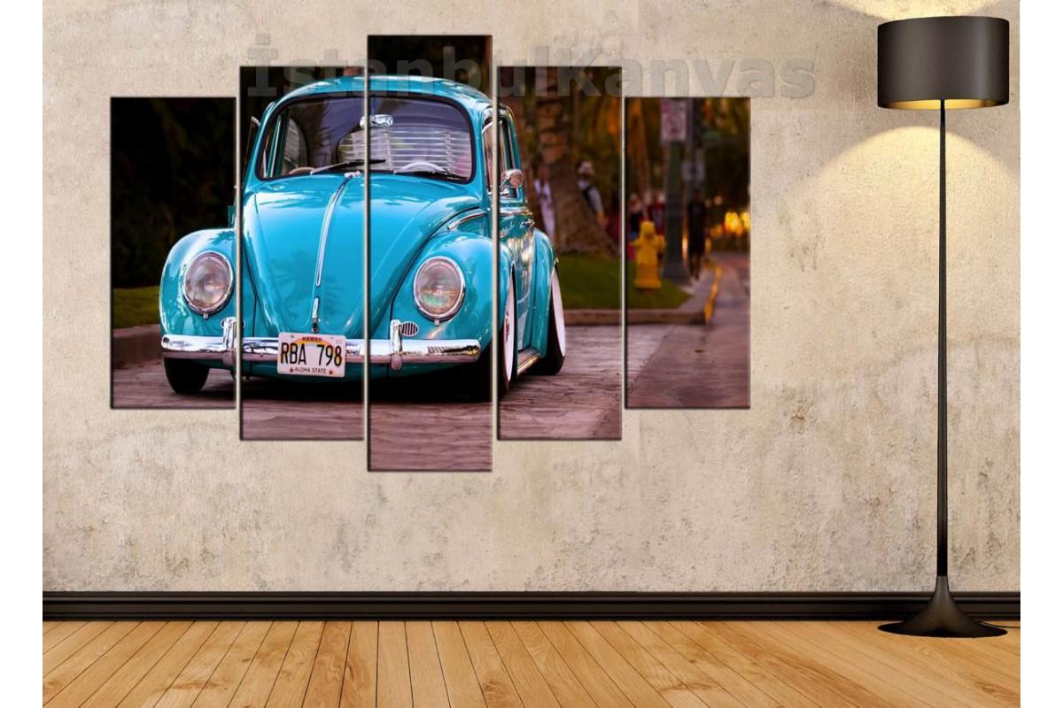 srvc35 - Mavi Vosvos, Volkswagen, Klasik Araba - Vintage Otomobil Dekoratif Kanvas Tablo