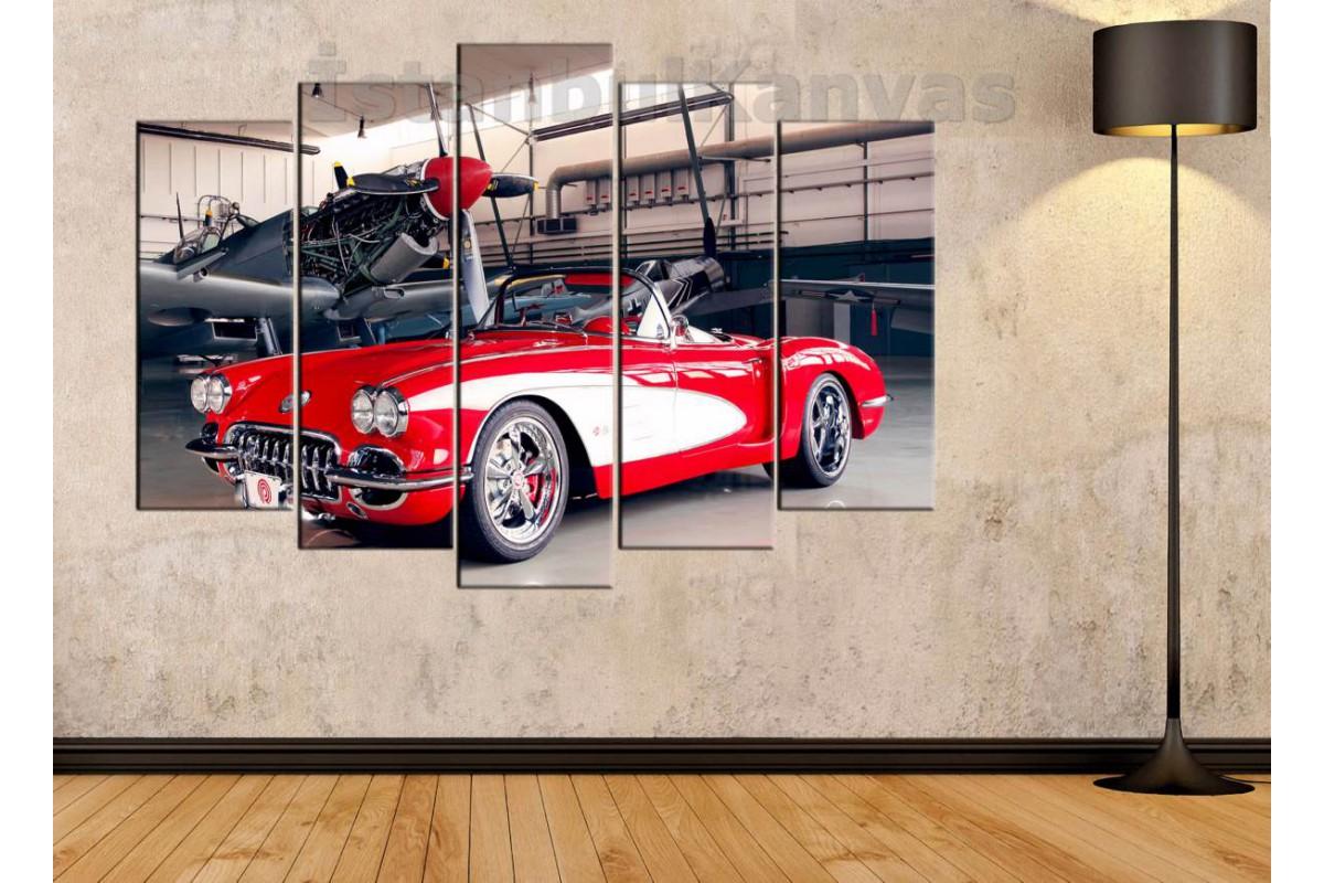 srvc9 - Pervaneli Uçak ve Corvette - Klasik Araba - Vintage Otomobil Kanvas Tablo