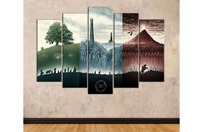 srye31 - Yüzüklerin Efendisi, LOTR, Lord of the Rings 3 Film Bir Arada Kanvas Tablo
