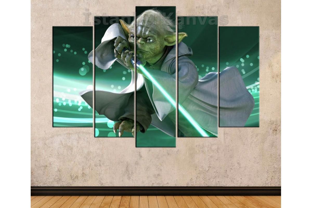 sww22 - STAR WARS (YILDIZ SAVAŞLARI) Master Yoda ve Yeşil Işın Kılıcı Kanvas Tablo