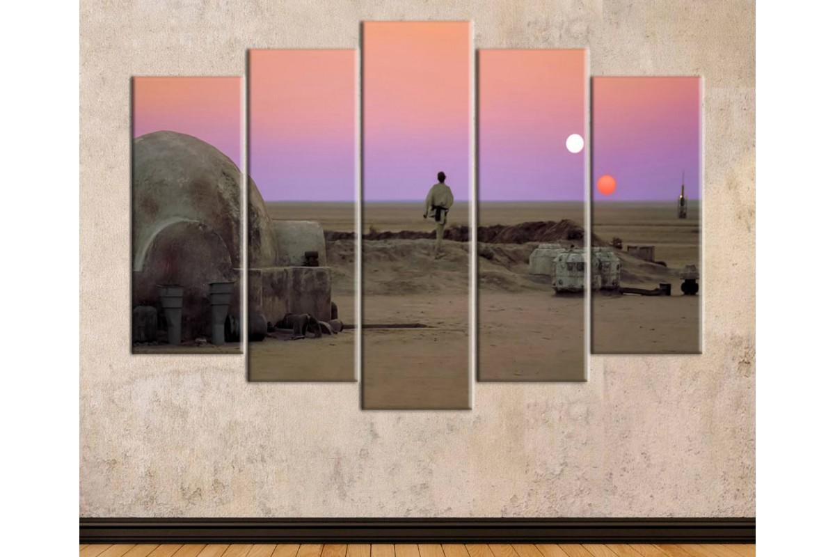 sww27 - STAR WARS, Yıldız Savaşları, Luke Skywalker Tatooine Gün Batımı Kanvas Tablo