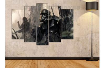 sww3 - Star Wars, Storm Troopers, İmparatorluk Askerleri Yağlı Boya Görünümlü Kanvas Tablo