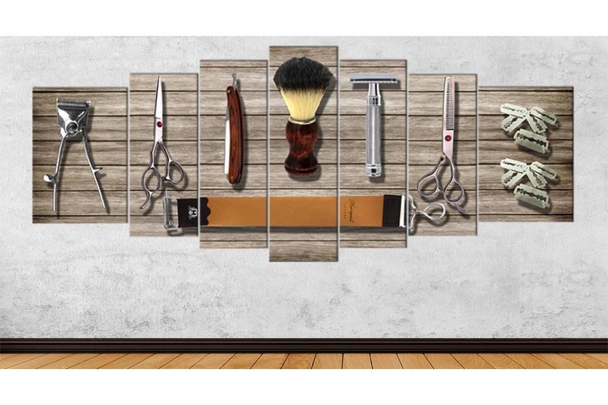 srbb3d - Dev Boyutlu Eski Berber Malzemeleri, Vintage Erkek Kuaför Aletleri Özel Tasarım Kanvas Tablo 80x195cm