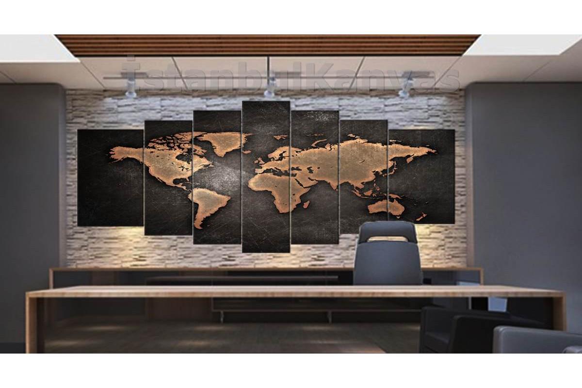 srh10y - Yıpranmış Görünümlü Kahverengi Dünya Haritası Kanvas Tablo 80x195cm