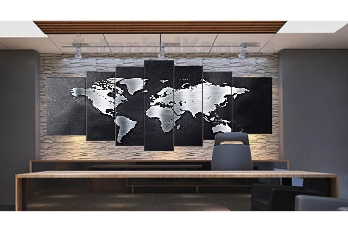 srh17y - Metalik Görünümlü Dünya Haritası Kanvas Tablo 80x195cm