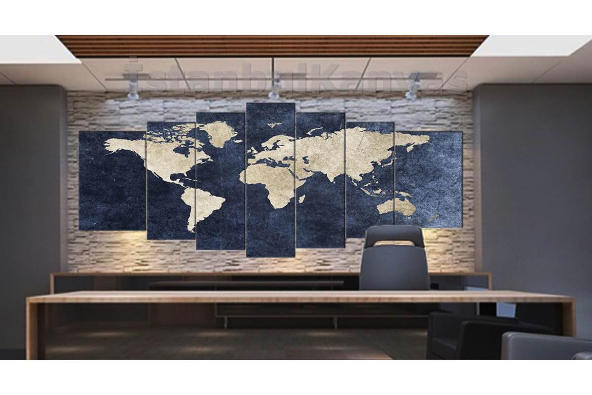 srh18y - Jean Kumaş Görünümlü Dünya Haritası Kanvas Tablo 80x195cm