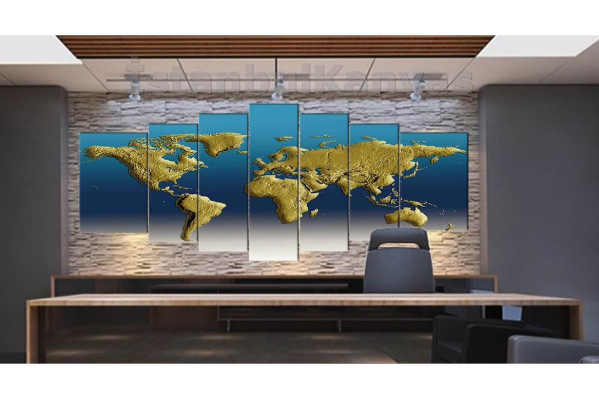 srh19y - 3 boyutlu Görünümlü Fiziki Dünya Haritası Kanvas Tablo 80x195cm