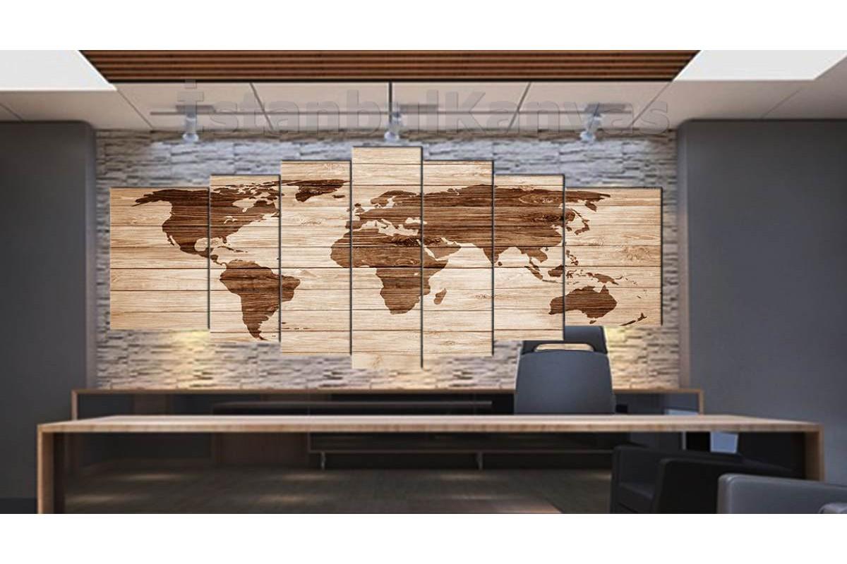 srh20y - Ahşap Yakma Görünümlü Özel Tasarım Dünya Haritası Kanvas Tablo 80x195cm