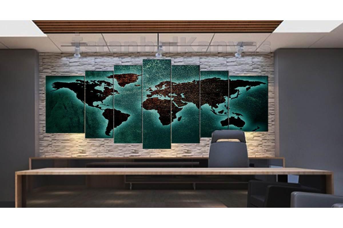 srh22y - Metalik Görünümlü Özel Tasarım Dünya Haritası Kanvas Tablo 80x195cm