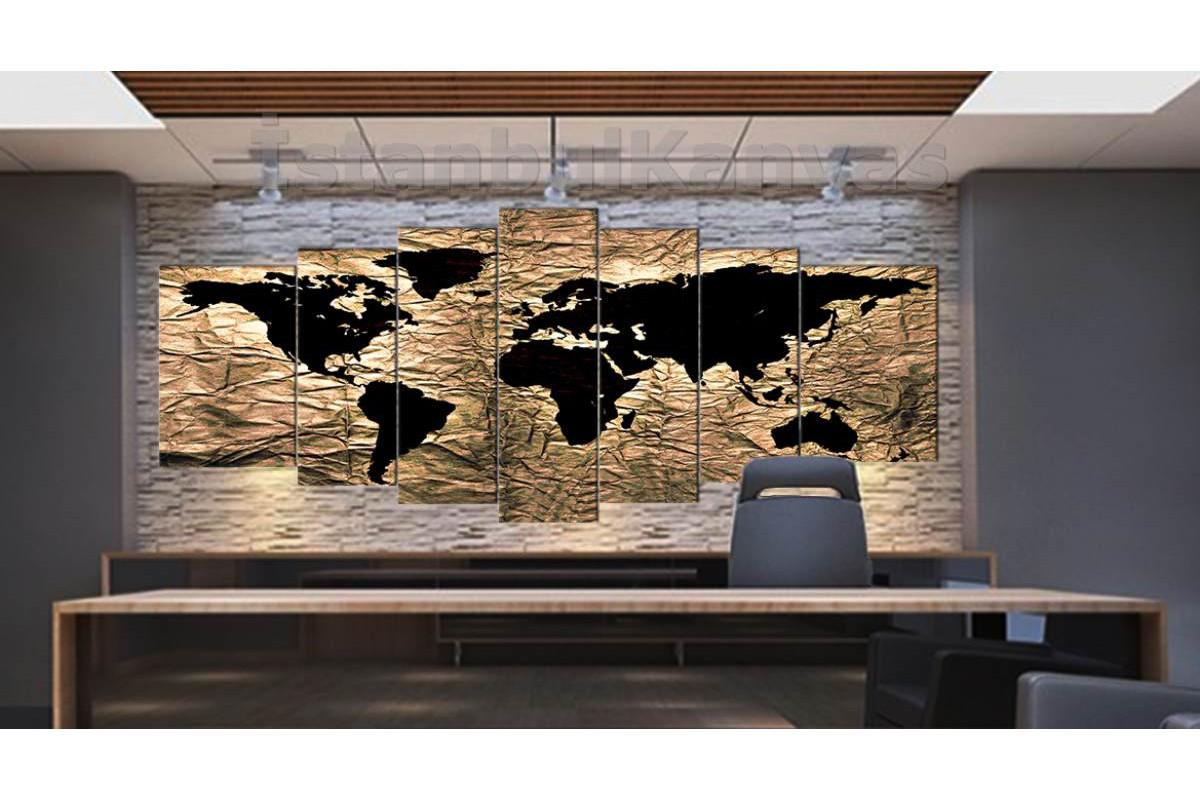srh25y - Özel Tasarım Kumaş Zemin Görünümlü Dünya Haritası Kanvas Tablo 80x195cm