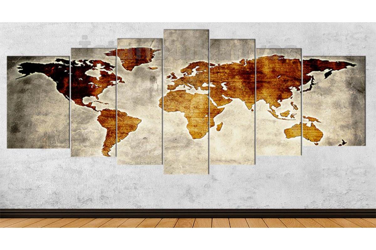 srh27y - Özel Tasarım Eskitme Görünüm Dünya Haritası Kanvas Tablo 80x195cm