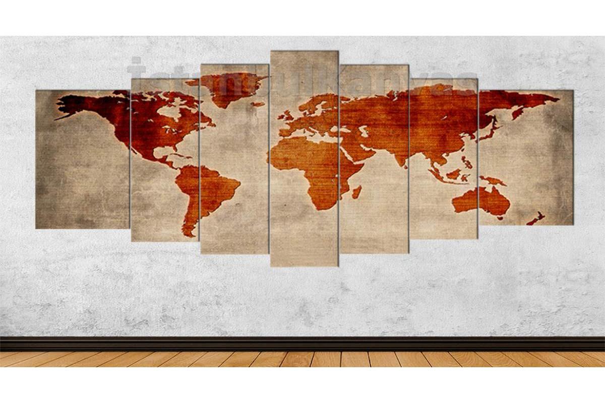 srh28y - Özel Tasarım Dokuma Kumaş Görünümlü Dünya Haritası Kanvas Tablo 80x195cm