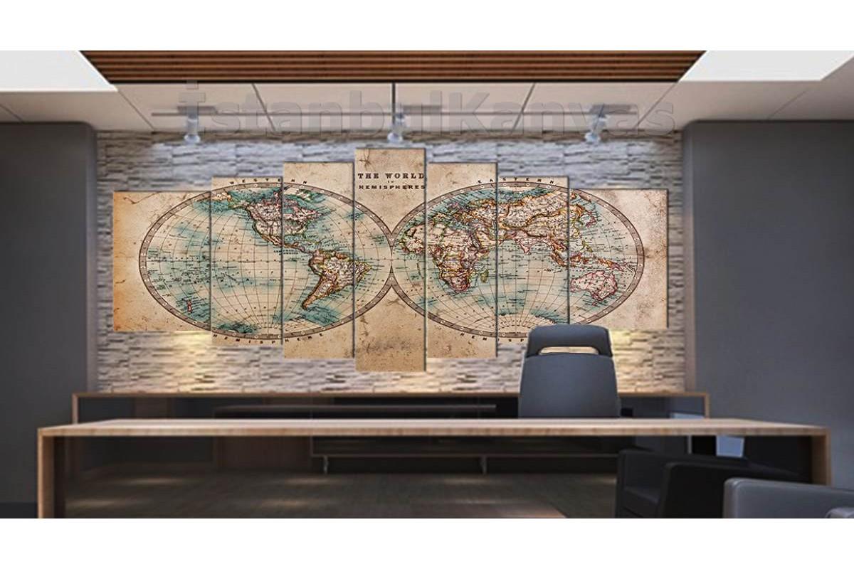 srh29y - 18.yy Küre Dünya Haritası Dekoratif Kanvas Tablo 80x195cm