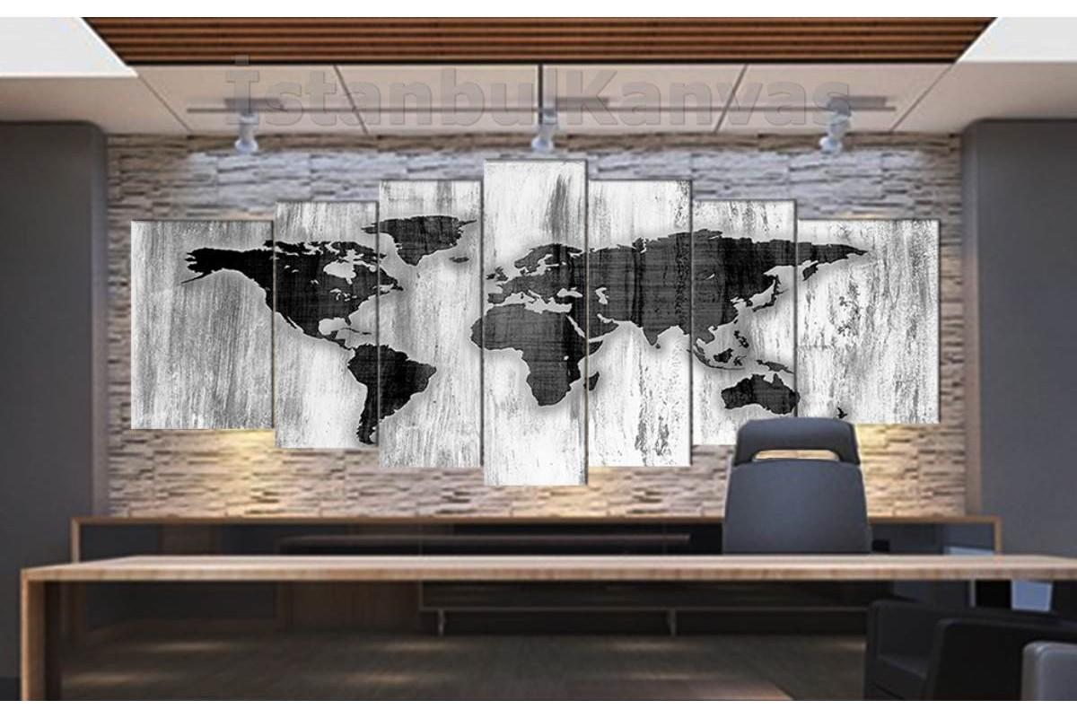 srh36y - Özel Tasarım Beyaz Eskimiş Ahşap Görünümlü Dünya Haritası Kanvas Tablo 80x195cm