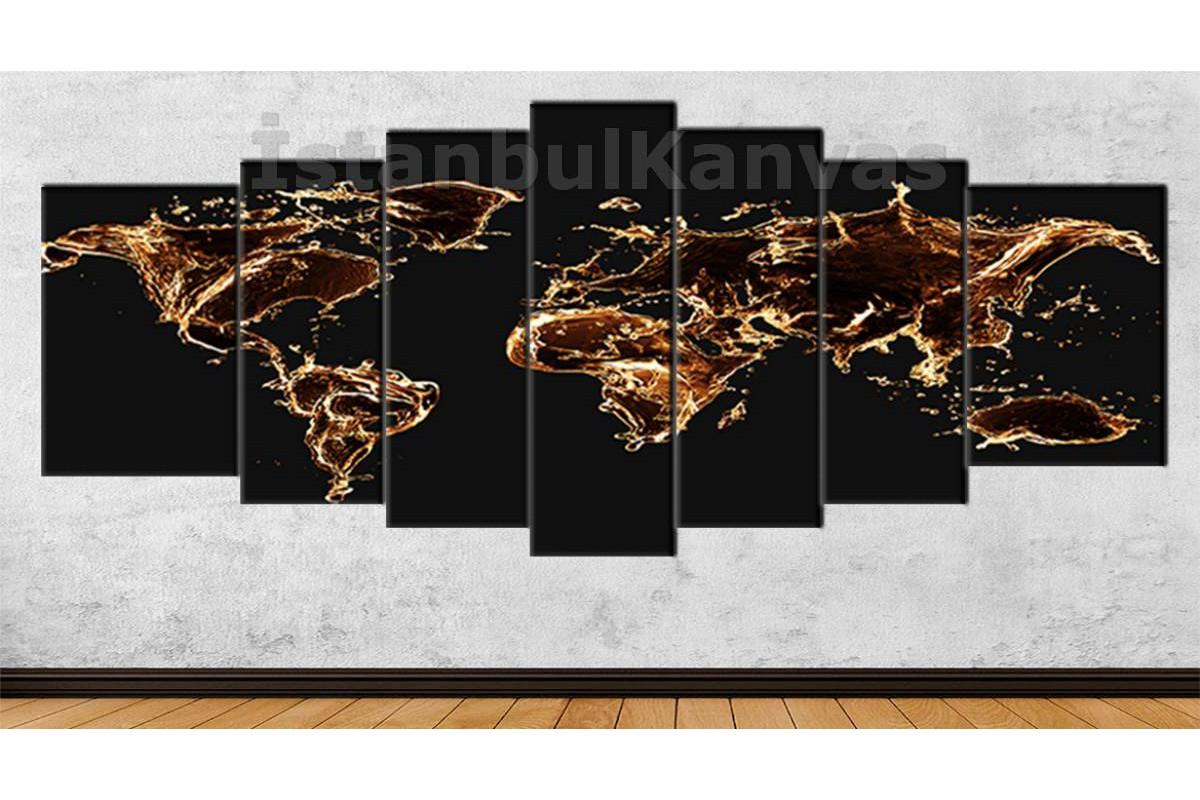 srh37y - Özel Tasarım, Kahve Damlaları Dünya Haritası 80x195cm