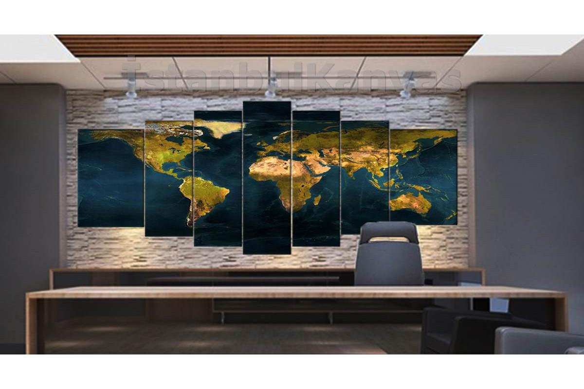srh38y - Dev Boyutlu Fiziki Dünya Haritası Kanvas Tablo 80x195cm