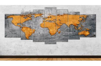 srh6y - Yıpranmış Görünümlü Dünya Haritası Kanvas Tablo 80x195cm