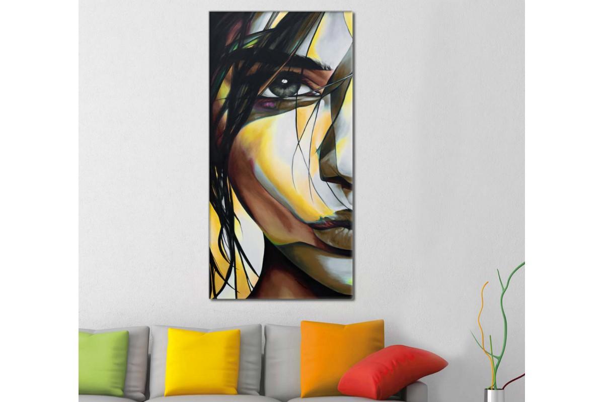 skrd9 - Yağlı Boya Görünümlü Dekoratif Soyut Kadın Kanvas Tablo - 50x100 cm