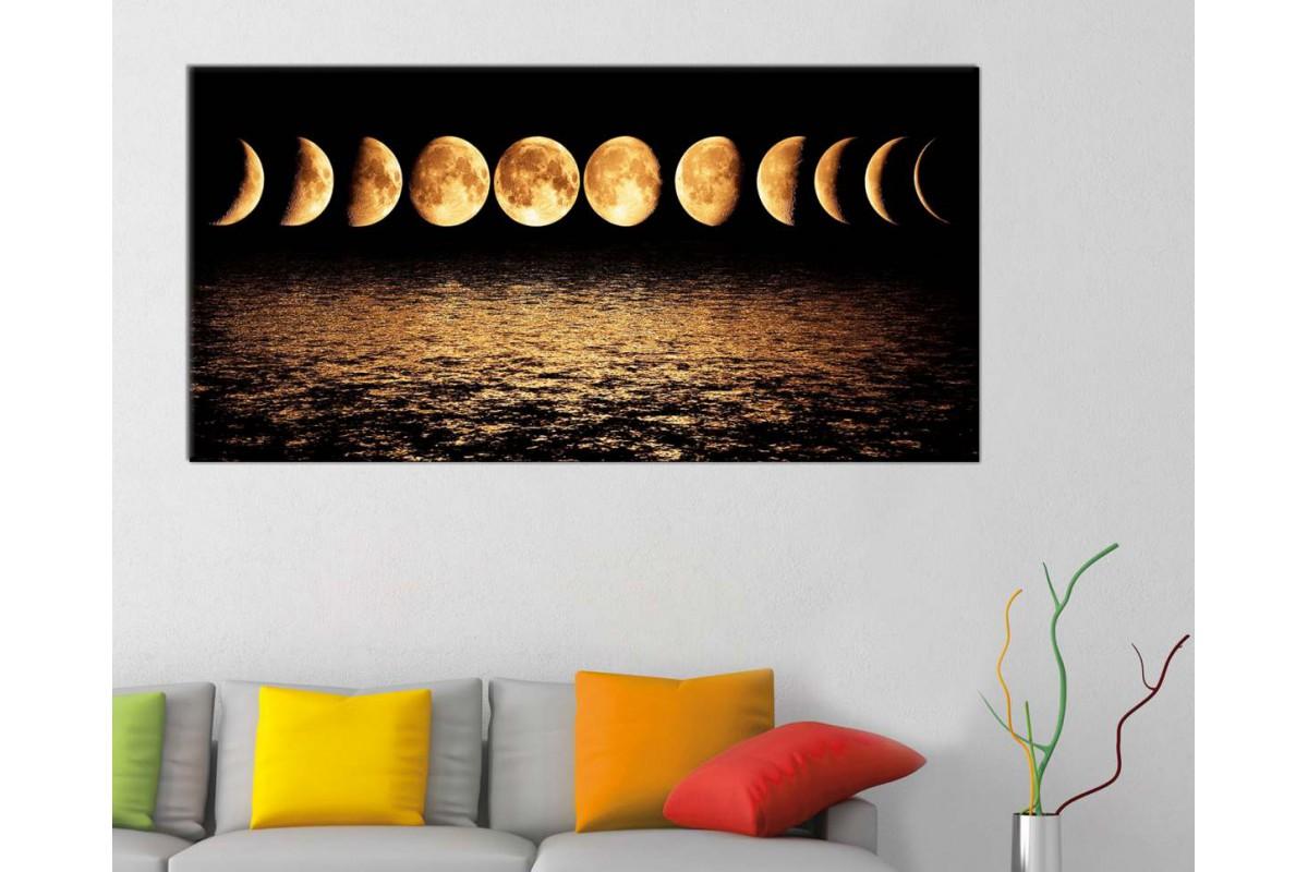 srae3 - Ayın Evreleri ve Yakamoz Dekoratif Kanvas Tablo - 50x100cm