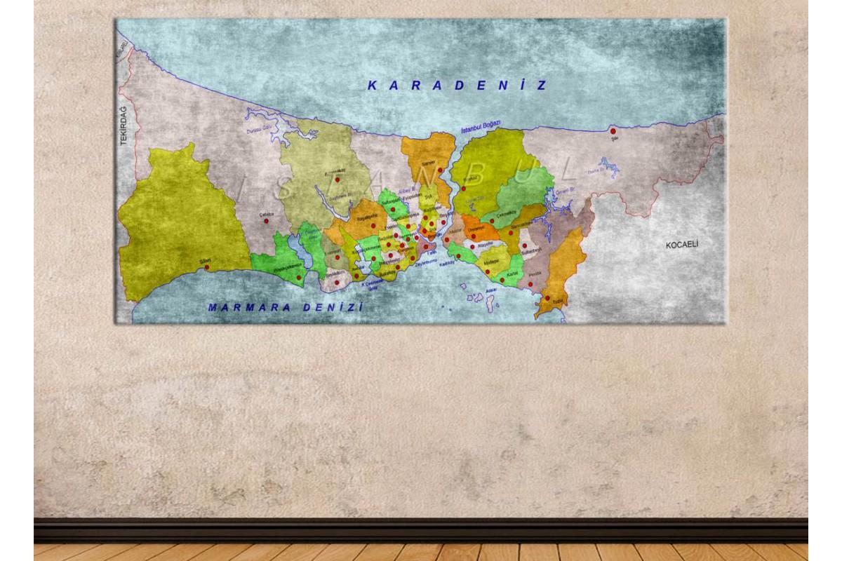 srist4 - Eskitme görünümlü İstanbul ve İlçeleri Haritası Kanvas Tablo