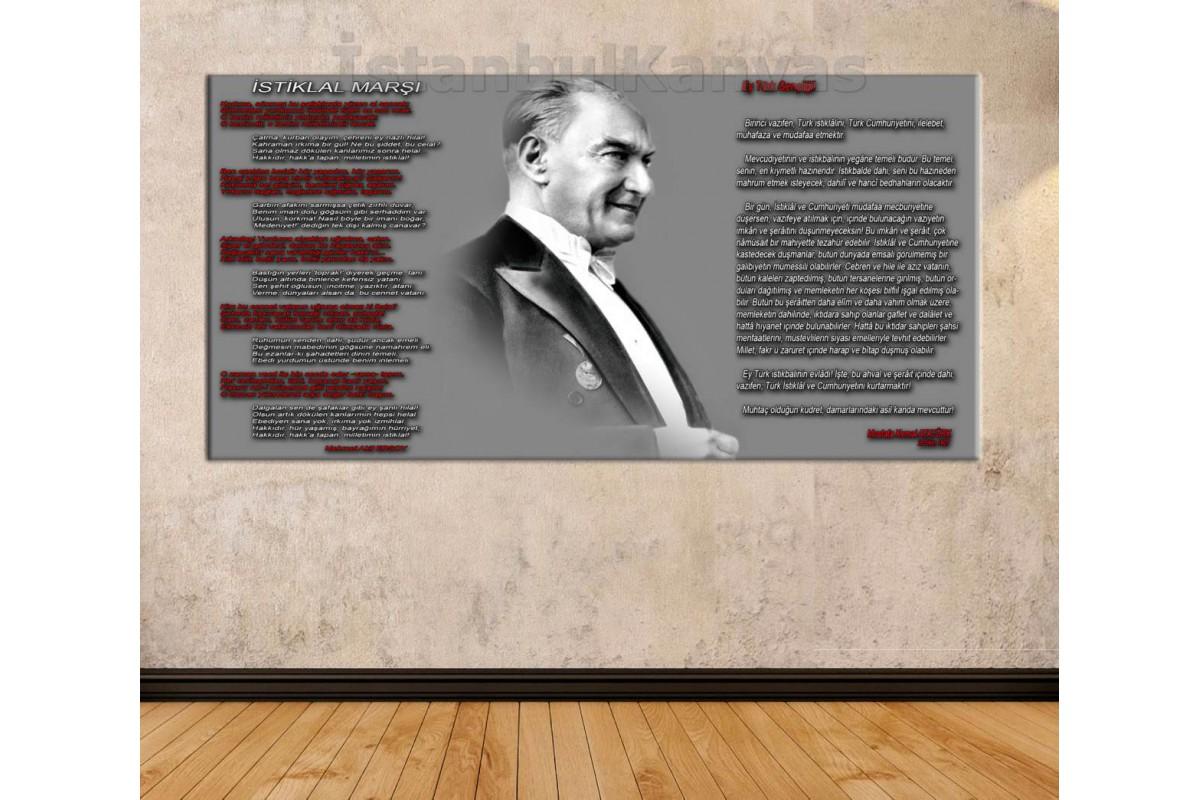 skr1923b - Atatürk Panosu, İstiklal Marşı ve Gençliğe Hitabe özel tasarım kanvas tablo