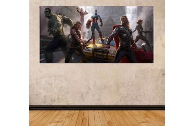 srk41 - Thor, Hulk, Iron man, Black Widow, Captain America, Hawkeye Avengers Yenilmezler kanvas tablo