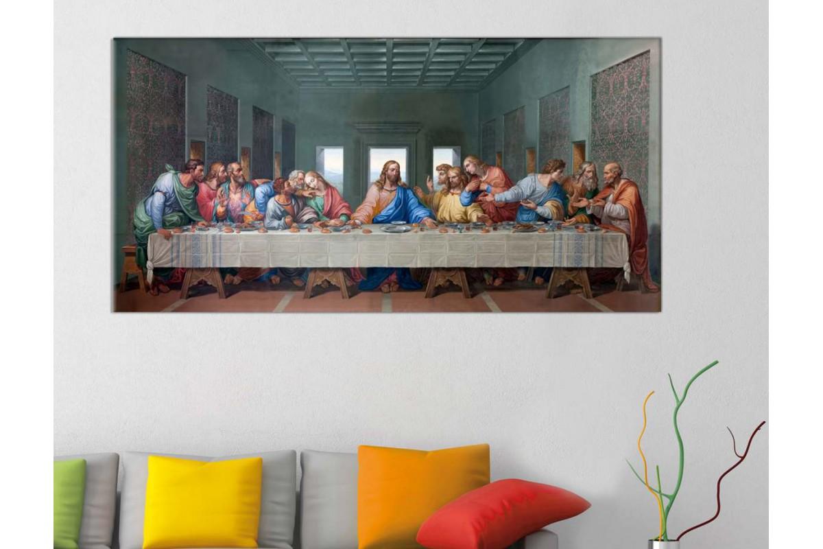 srkjc03b - Hazreti İsa, Last Supper, İsa Mesih Son Akşam Yemeği Kanvas Tablo -50x100cm