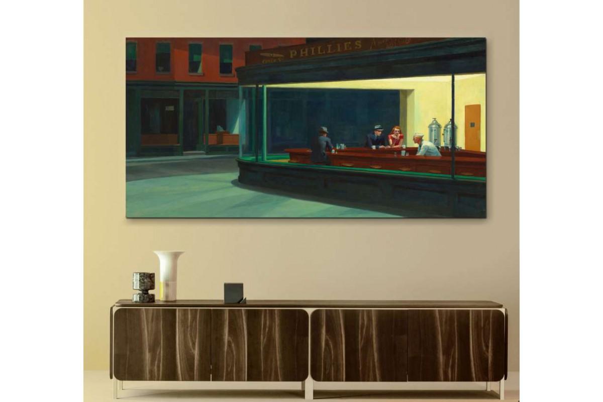 snhw1 - Edward Hopper - Nighthawks Gece Kuşları Kanvas tablo