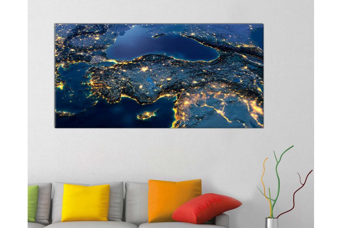 srth13b - Uzaydan Gece Görünüm, Uydu Türkiye Haritası Kanvas Tablo - 50x100 cm