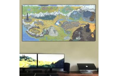 srye96d - Tüm Binalar ve Yeryüzü Şekilleriyle Orta Dünya Haritası Kanvas Tablo 50x100cm