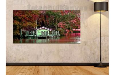 sye11 - Atatürk Arboretumu Gölet Manzarası Kanvas Tablo