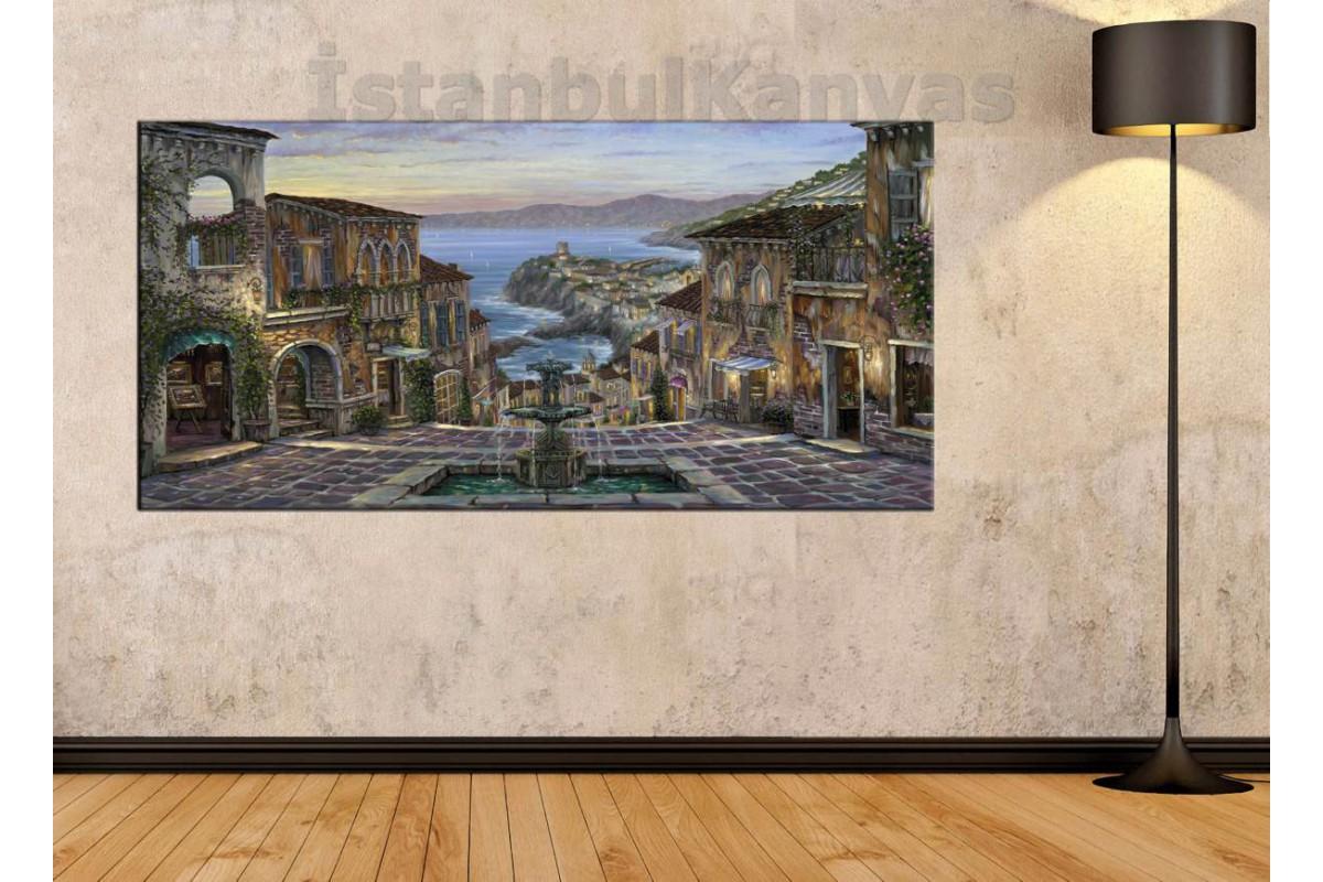 sye13 - İtalyan Çeşmesi Yağlı Boya Görünümlü Kanvas Tablo