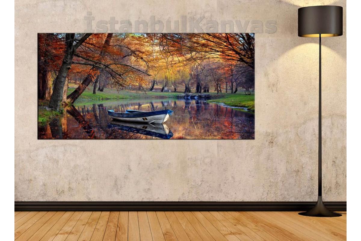 sye14 - Kayık, Göl ve Orman Manzaralı Kanvas Tablo
