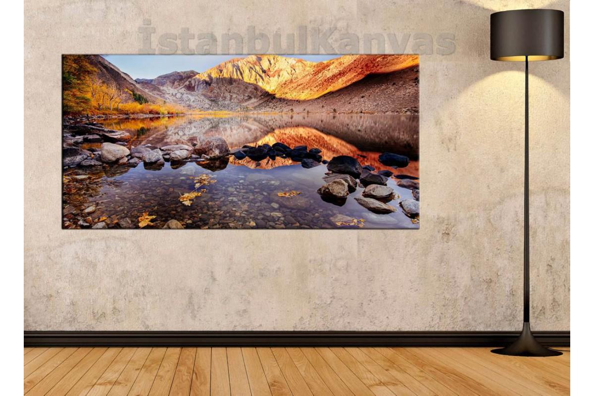 sye15 - Göl ve Dağ Manzaralı Yağlı Boya Görünüm Kanvas Tablo
