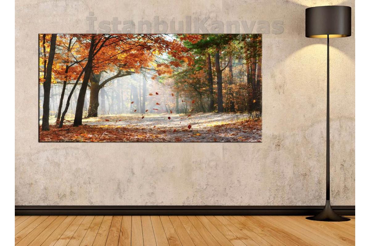 sye17 - Sonbaharda Uçuşan Yapraklar Kanvas Tablo