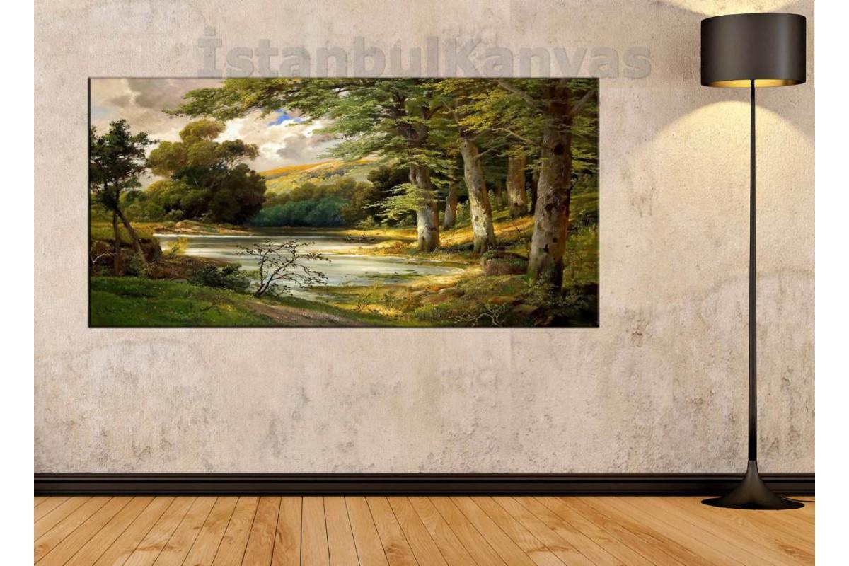 sye18 - Yağlı Boya Görünümlü Orman Manzarası Kanvas Tablo