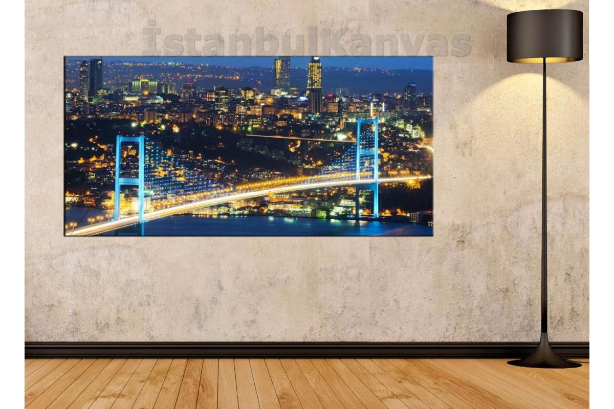 sye2 - İstanbul Gece manzarası BOĞAZ KÖPRÜSÜ (15 TEMMUZ) KANVAS TABLO