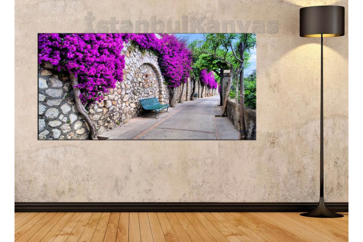 sye21 - Mor Çiçekli Duvar ve Bank Kanvas Tablo