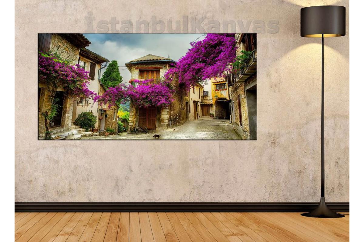 sye22 - Mor Begonvil Çiçekli Evler Kanvas Tablo