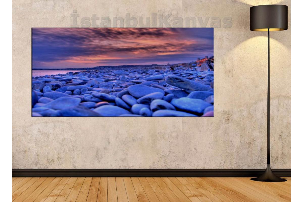 sye23 - Kumsal ve Mavi Taşlar Kanvas Tablo