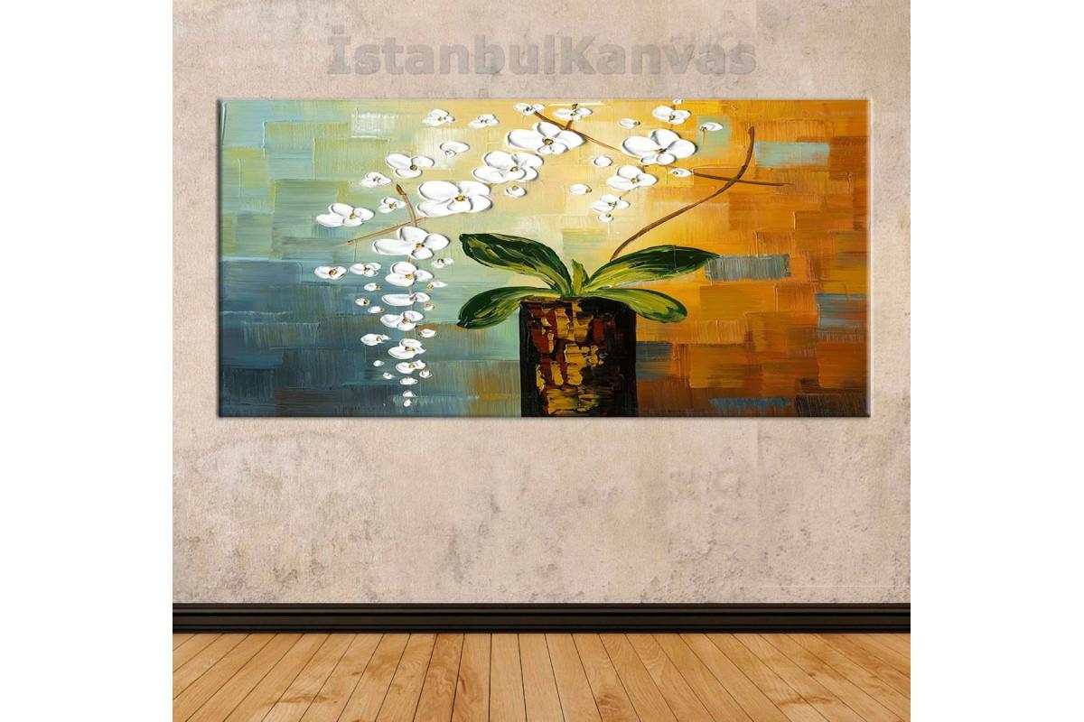 sye27 - Saksı Ve Çiçekler Dekoratif Soyut Kanvas Tablo
